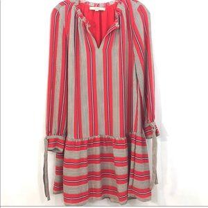 LOFT Drop Waist Tie Sleeve Dress in Red Stripe Sm